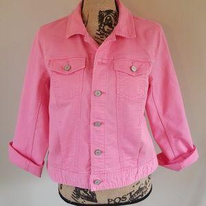 Talbots pink denim jacket size Med